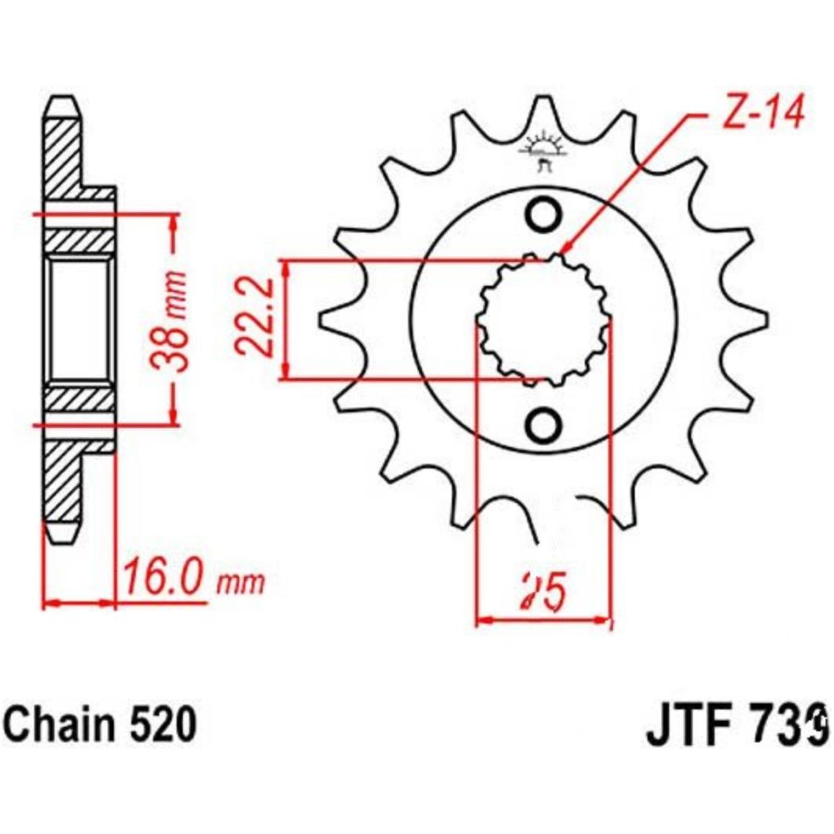 JT Kettenrad 39 Zähne Teilung 520 schwarz JTR735.39