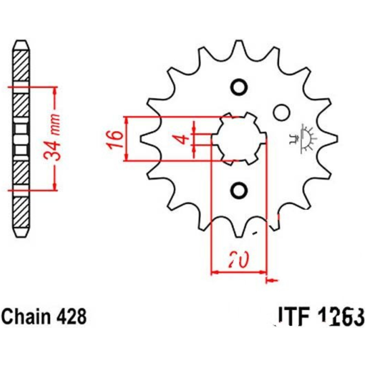 front sprocket 13tooth pitch 428 jtf126313