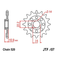 Front sprocket rac 17t pitch 520 JTF70717 für Aprilia RXV  450 VPH00 2007, 17 PS, 12,5 kw