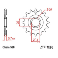 Front sprocket 12tooth pitch 520 JTF159012 für Yamaha YZ  250 CG18C 2004, 42 PS, 31 kw