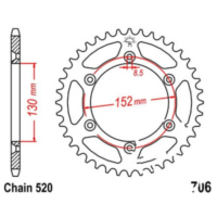 Rear sprocket 46 tooth pitch 520 JTR70646 für Aprilia RXV  450 VPH00 2007, 17 PS, 12,5 kw