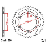 Rear sprocket 48 tooth pitch 520 JTR25148 für Yamaha YZ  250 CG18C 2004, 42 PS, 31 kw