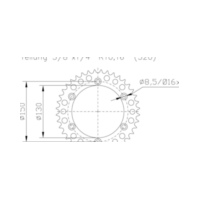 Aluminium sprocket, 49 teeth für Yamaha YZ  250 CG18C 2004, 42 PS, 31 kw (alternativ)
