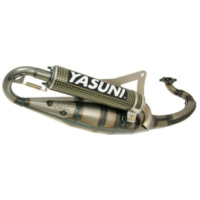 exhaust Yasuni Scooter R yellow carbon for Peugeot horiz., Derbi YA225CK